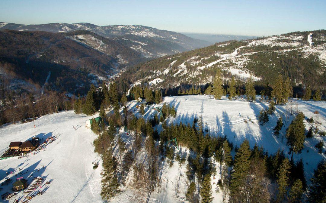 Zima w Szczyrku z lotu ptaka